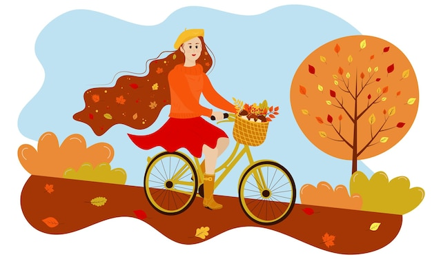 Autumn girl rides a bicycle in the park autumn leaves in her hair basket is full of autumn gifts