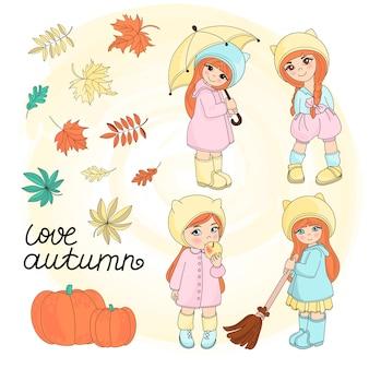 Autumn girls vector illustration set