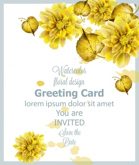 Autumn golden leaves card watercolor