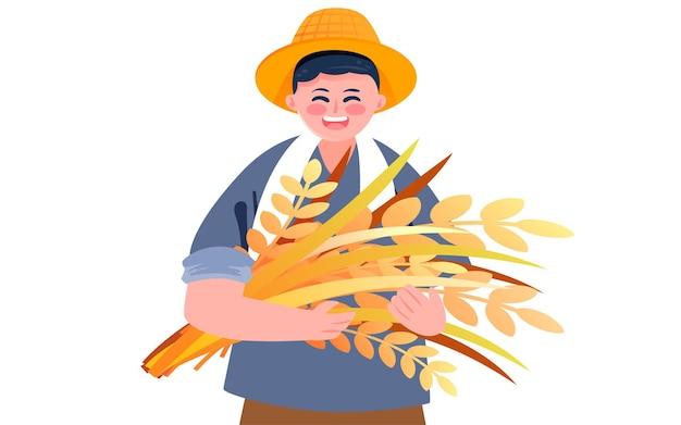 가을 곡물 수확 그림 농장 농부 수확 작물 포스터