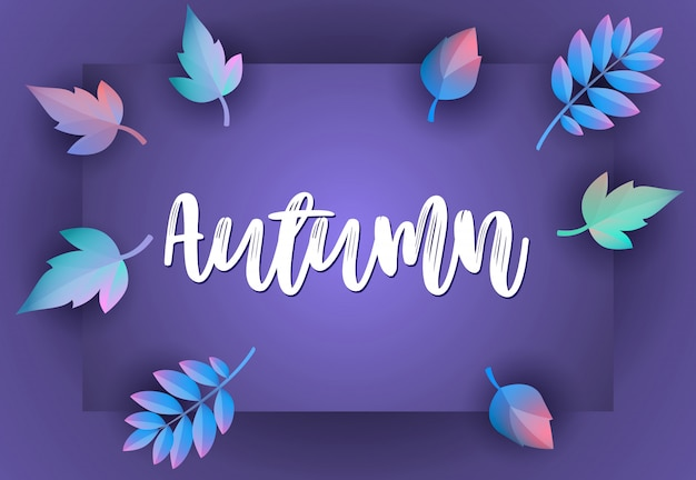 Autumn greeting card with violet