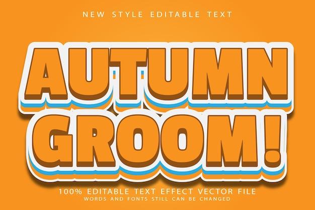 Осенний жених редактируемый текстовый эффект тиснение в современном стиле