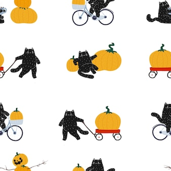 Autumn halloween black hand drawn cat seamless pattern the cat rides a bicycle rolls a red cart