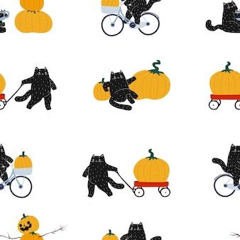 가을 할로윈 검은 손으로 그린 고양이 원활한 패턴 고양이는 자전거를 타고 빨간 카트를 굴립니다.