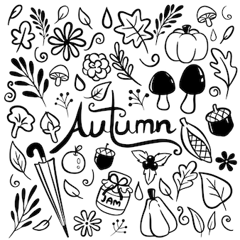 Autumn hand drawn doodle vector