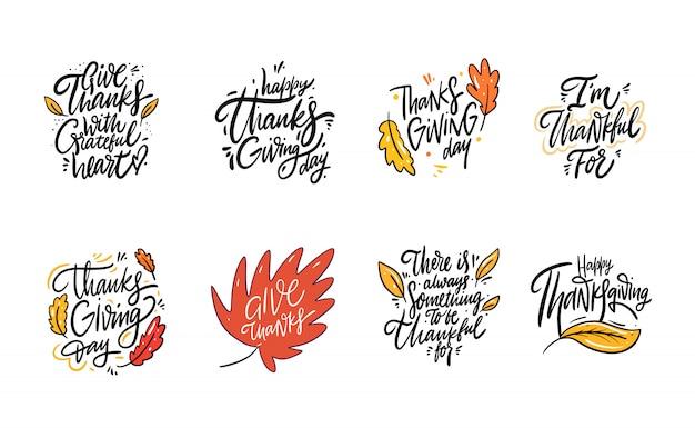 Autumn hand drawn lettering phrase set.