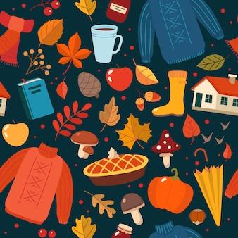 Autumn hand drawn seamless pattern with seasonal elements on dark.