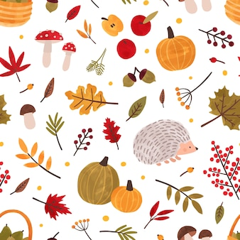 Autumn hand drawn vector seamless pattern.