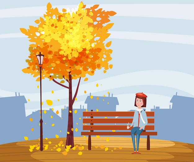 Autumn, happy girl sitting on a bench with a cup of coffee, under a tree with falling leaves in a park, city, urban