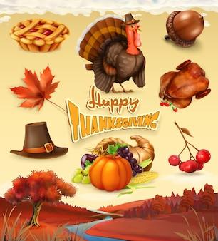 Осень. с днем благодарения мультипликационный персонаж и объекты.