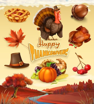 Autumn. happy thanksgiving cartoon character and objects.