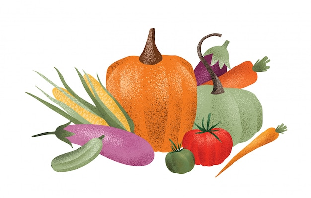 Состав осеннего урожая. спелые вкусные овощи, изолированные на белом фоне