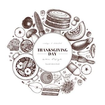Праздник осеннего урожая. традиционное меню дня благодарения на доске. эскизы домашней еды и напитков. винтажный венок с рисованной едой, напитками, овощами, фруктами, цветами.