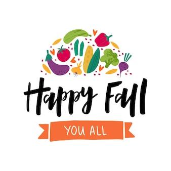 Autumn harvest flat vector banner template. happy fall black ink lettering. decorative vegetables doodle sketch. celebrating harvest gathering fest, festival poster, postcard design element