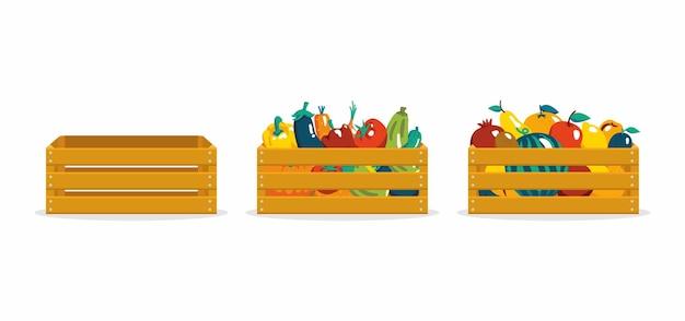 가을 수확 신선한 과일과 야채를 나무 상자에 담아 수확 축제의 개념