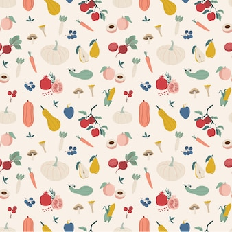 Autumn harvest fruits and vegetable seamless pattern.