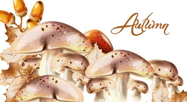 가을 수확 패턴. 가을 버섯과 과일 장식 포스터