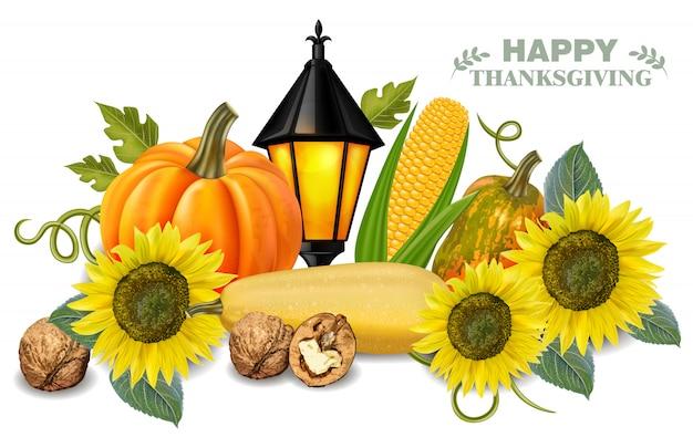 Autumn harvest pumpkin and sunflower