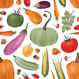 秋の収穫のシームレスなパターン。熟した野菜のフルーツとベリー