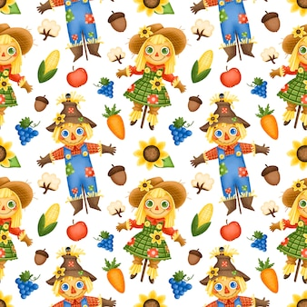 Autumn harvest seamless pattern. scarecrow boy and girl seamless pattern.