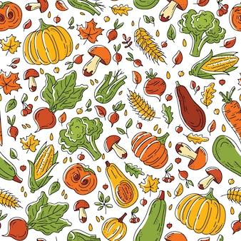 Осенний урожай бесшовные модели с овощами и грибами
