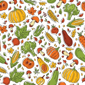 Autumn harvest seamless pattern with vegetables and mushrooms