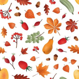 秋の収穫はベクターのシームレスなパターンです。季節のフルーツとベリー、ドングリ、葉の質感。