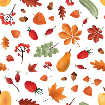 Autumn harvest vector seamless pattern. seasonal fruits and berries, acorns and leaves texture.