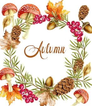 Autumn harvest wreath card. fall mushrooms and fruits decor posters