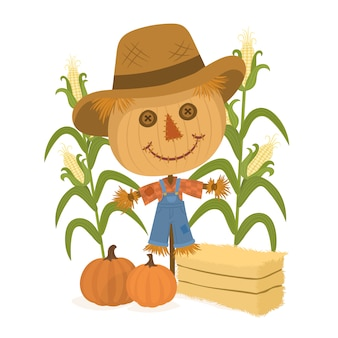 Autumn harvesting with cute scarecrow and pumpkins