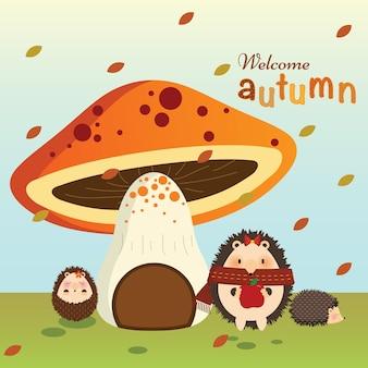 Осенний еж с грибным домом