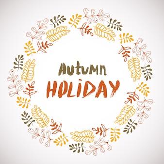 Осенний праздник фон. круговая ручная рама. красочный баннер с листьями. вектор