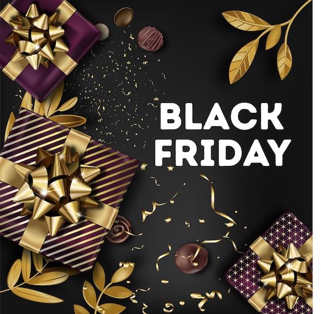 秋の休日のバナー、ブラックフライデーの秋のイベント。ゴールドのリボンで飾られたプレゼントやボックスが付いた装飾カード。装飾品と葉。ショップのマーケティングと広告。フラットスタイルのベクトル