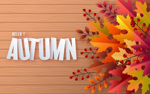 カラフルな紅葉と花と秋の休日の季節の背景