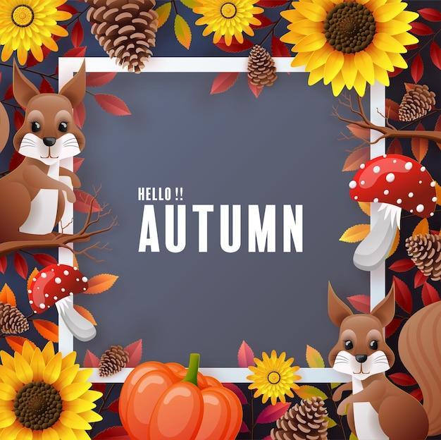 カラフルな紅葉と秋の休日の季節の背景 Premiumベクター