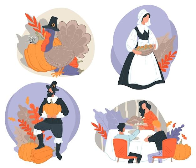 秋の休日やお祭りのイベント、夕食を共有することによる感謝祭の家族のお祝い。特別な日のために用意された料理。カボチャと焼き七面鳥と秋の季節の野菜。フラットスタイルのベクトル