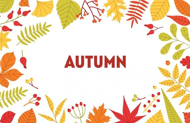 倒れた木の葉と果実から成っているフレームと秋の水平背景。