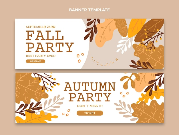 Autumn horizontal banners set