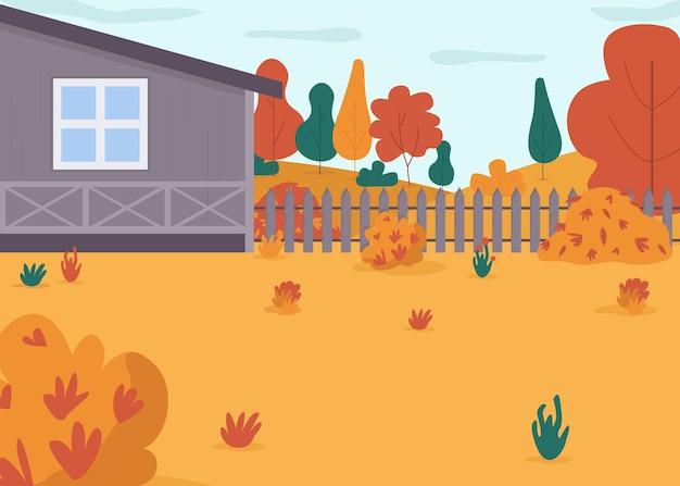 가을 집 뒤뜰 세미 평면 그림. 가족 휴가 활동을위한 집 마당. 건물과 울타리가있는 시골 풍경입니다. 상업용 가을 계절 2d 만화 풍경