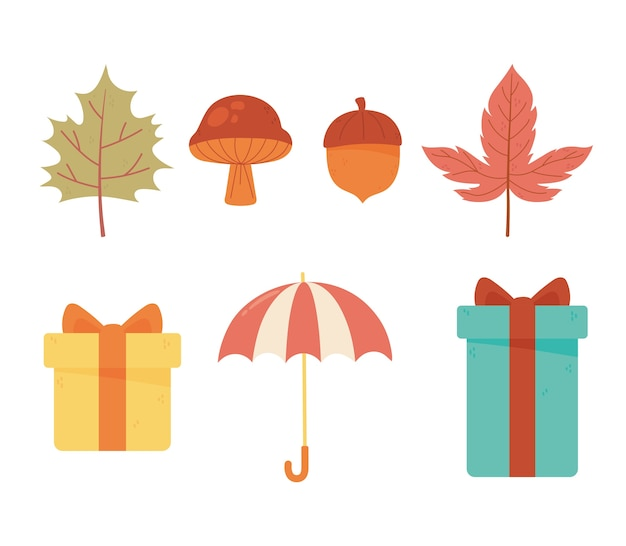 Autumn icons collection umbrella gifts acorn mushroom and leaf