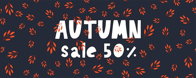 Autumn illustration banner sale vector fall lettering card