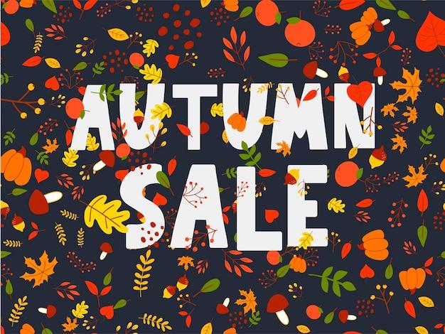 Autumn illustration banner vector fall lettering card