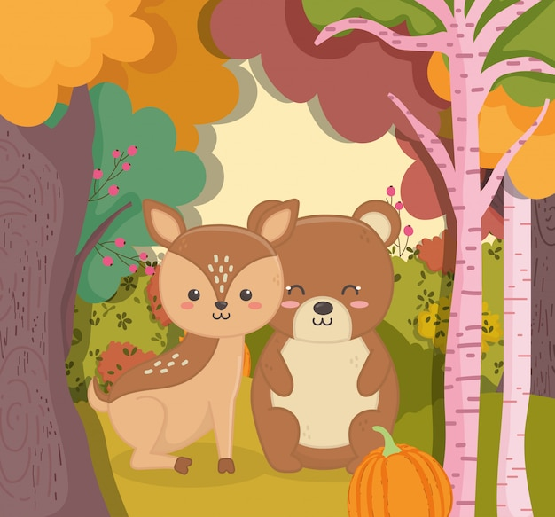Autumn illustration of cute bear and deer with pumpkin forest