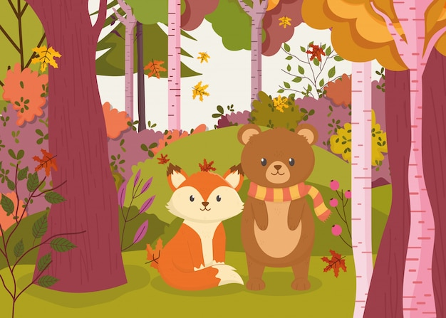 Autumn illustration of cute bear and fox in the forest