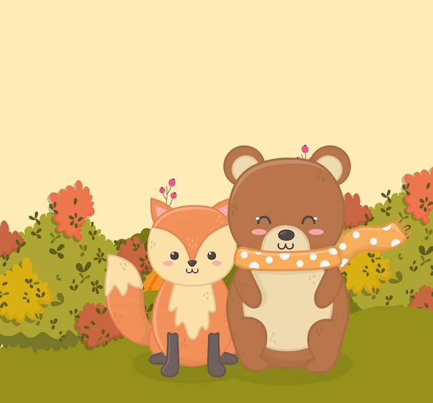 Autumn illustration of cute bear and fox sitting in the forest