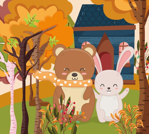 Autumn illustration of cute bear and rabbit cottage forest
