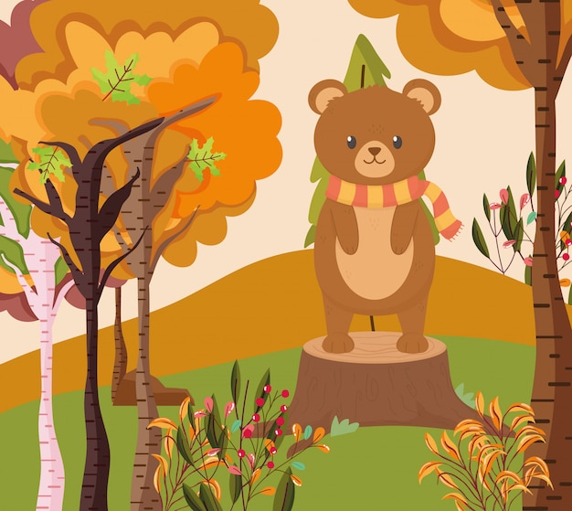 Autumn illustration of cute bear standing on trunk forest