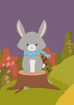 Autumn illustration of cute bunny with scarf on trunk field