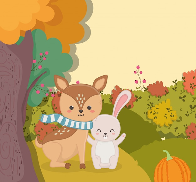 Autumn illustration of cute deer with rabbit pumpkin forest