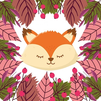 Autumn illustration of cute fox face leaves seeds foliage